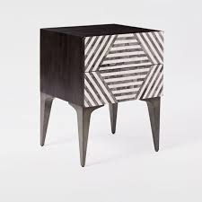 black and white side table bone inlay black white bedside table stripe design bohemain