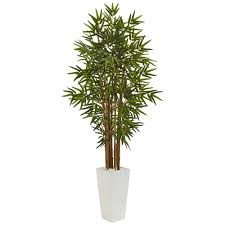 nearly natural indoor bamboo artificial tree in white tower
