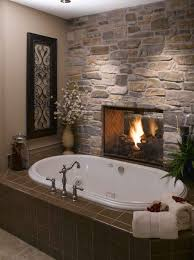 cool small bathroom design with stone fireplace and oval white cool small bathroom design with stone fireplace and oval white bathtub ideas