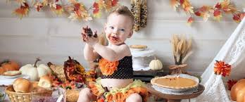 festive babies celebrate their 1st thanksgiving with turkey smash