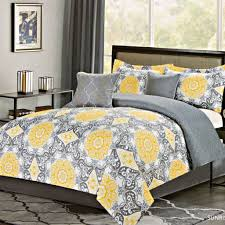 bedroom astounding gray and yellow bedding set with flower design