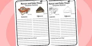 roman and celtic house comparison worksheet roman celtic