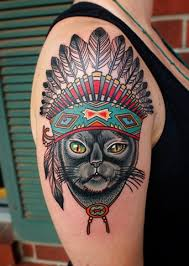indian headdress tattoo on ribs cat with indian headdress tattoo by dave wah cat tattoo