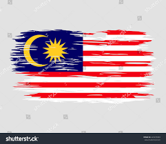 Flag Com Flag Malaysia Painted Brush Colored Inks Stock Vektorgrafik
