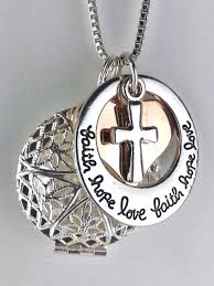 cross locket necklace images Diffuser necklace faith hope love cross heart silver jpeg