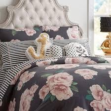 the emily u0026 meritt bed of roses duvet cover sham black u0026 blush