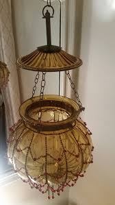 Hundi Light Fixture by Antique Hundi Lantern Amber Ribbed Glass Bell Jar Lantern