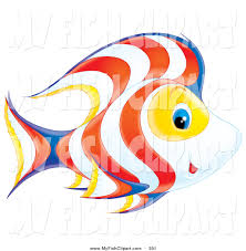 clip art of a cute happy white yellow blue and orange fish with