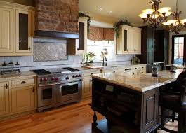 country style kitchens design with black metal chandelier hang on