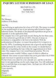inquiry letter submission of loan sample letter of loan