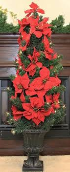 46 pre lit artificial poinsettia potted tree