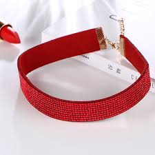 red crystal choker necklace images Red crystal pu leather choker necklace jpg