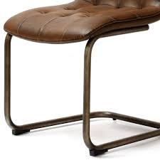 hutch industrial pin back pu leather dining chair