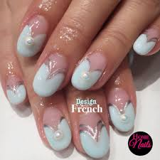 heart shaped french with full set crystals gelish nail design