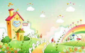 cartoon rainbow wallpaper free vector download free vector