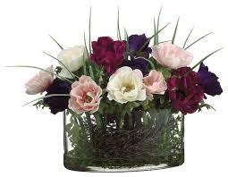 Traditional Flower Arrangement - oval glass vase traditional artificial flower arrangements