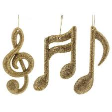 gold notes treble clef ornaments set 3 home