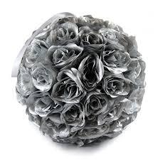 silver roses 12 silver silk balls pomanders for wedding