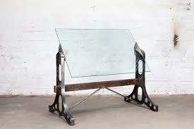 Drafting Table Glass Drafting Table Forged Glass Top Reclaimed Timber Mill Forge