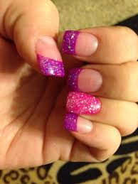 my current nails neon purple and pink glitter french solar