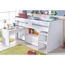 lit avec bureau coulissant lit plateforme mi haut avec bureau et rangement intégrés 1 personne