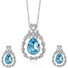 amazon black friday jewelry swarovski amazon com lelekiss women u0027s blue crystal teardrop pendant