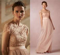 2016 cheap blush pink prom dresses short sleeve sheer lace