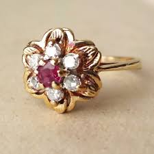 vintage flower rings images Vintage ruby and diamond ring wedding promise diamond jpg