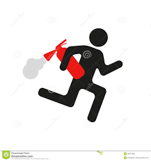 humorous warning sign man with fire extinguisher stock vector