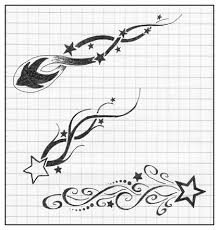 sketches of shooting stars and moons under breast tattoo quotes
