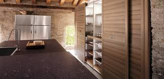 archaic brown color walnut kitchen cabinets featuring sliding door