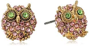 owl stud earrings betsey johnson antoinette pave owl stud earrings