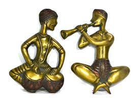 brass coral musical lady pair statue ethnic tribal home decor wall scupture