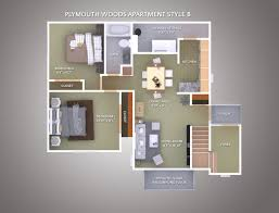 1000 Sq Ft Apartment by Apartment Style B Plymouth Woods