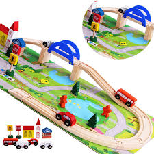 aliexpress com buy 40pcs set diy wooden toys railroad railway