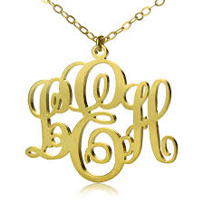 gold monogrammed necklace initial monogram necklace solid gold