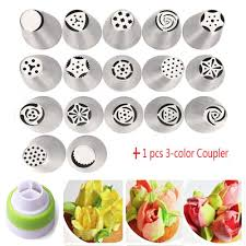 flower decorating tips 17pc russian tulip flower icing piping nozzles cake decoration