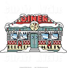 Retro Christmas Lights by Avenue Clipart Of A Retro Diner In Winter Time Decorated In