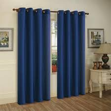 Drapery Panels With Grommets Mira Navy Blue Grommet Top Curtain Panels 2 Pack Walmart Com