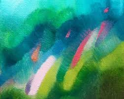 abstract landscape color field painting with green by nikkigalapon
