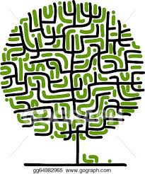 vector maze tree for your design clipart drawing gg64982965