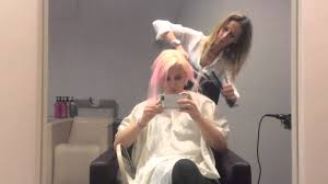 extreme makeover from long lavender pastel hair to extreme short