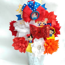 hair bows snow white inspired hair bow bowquet