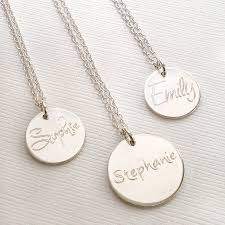 name necklaces silver personalised engraved name necklace by