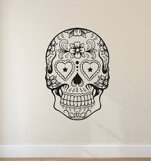 tribal patterned sugar skull head wall stickers home livingroom tribal patterned sugar skull head wall stickers home livingroom cool fashion decor art wall decals creative skull pattern wm 591 in wall stickers from home