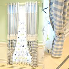 Country Curtains Pastoral Style Linen Jacquard Blue Plaid Country Curtains For