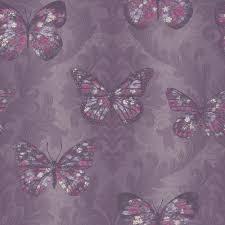 Midsummer Butterfly Wallpaper In Plum Purple Dove Grey Heather