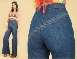 High Waist Bell Bottom Jeans Vintage 70 U0027s Rare Rainbow High Waisted Bell Bottom Jeans Wrangler