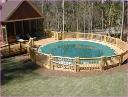 above ground pool decks attached to house above ground pool with