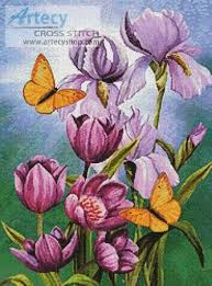 irises and tulips butterfly cross stitch pattern designs and